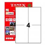 Tanex Tw-2204 Yazıcı Etiketi 105 X 148.5 Mm 400 Adet - Beyaz