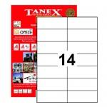 Tanex Tw-2712 Yazıcı Etiketi 105 X 42.7 Mm 1.400 Adet - Beyaz