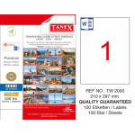 Tanex TW-2000 Yazıcı Etiketi 210 x 297 mm 100 Adet - Beyaz
