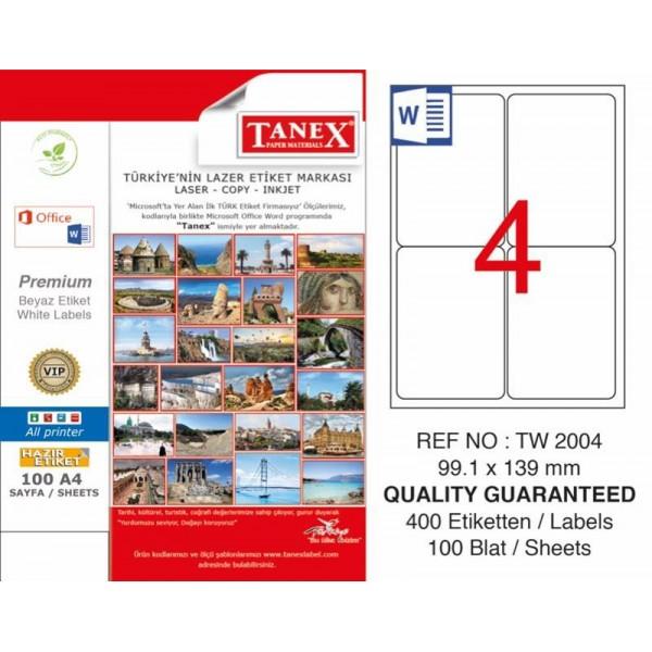 Tanex TW-2004 Yazıcı Etiketi 99.1 x 139 mm 400 Adet - Beyaz