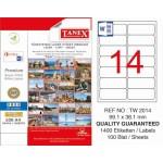 Tanex TW-2014 Yazıcı Etiketi 99.1 x 38.1 mm 1.400 Adet - Beyaz