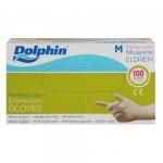 Dolphin Muayene Eldiveni Lateks Pudralı 100 Adet Beyaz - Medium